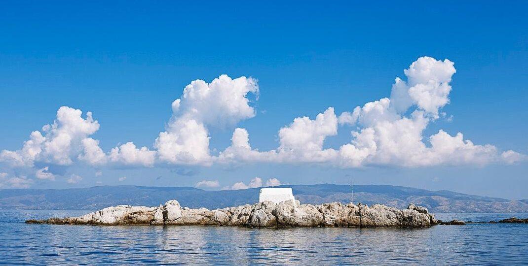 Small island with church near Hydra